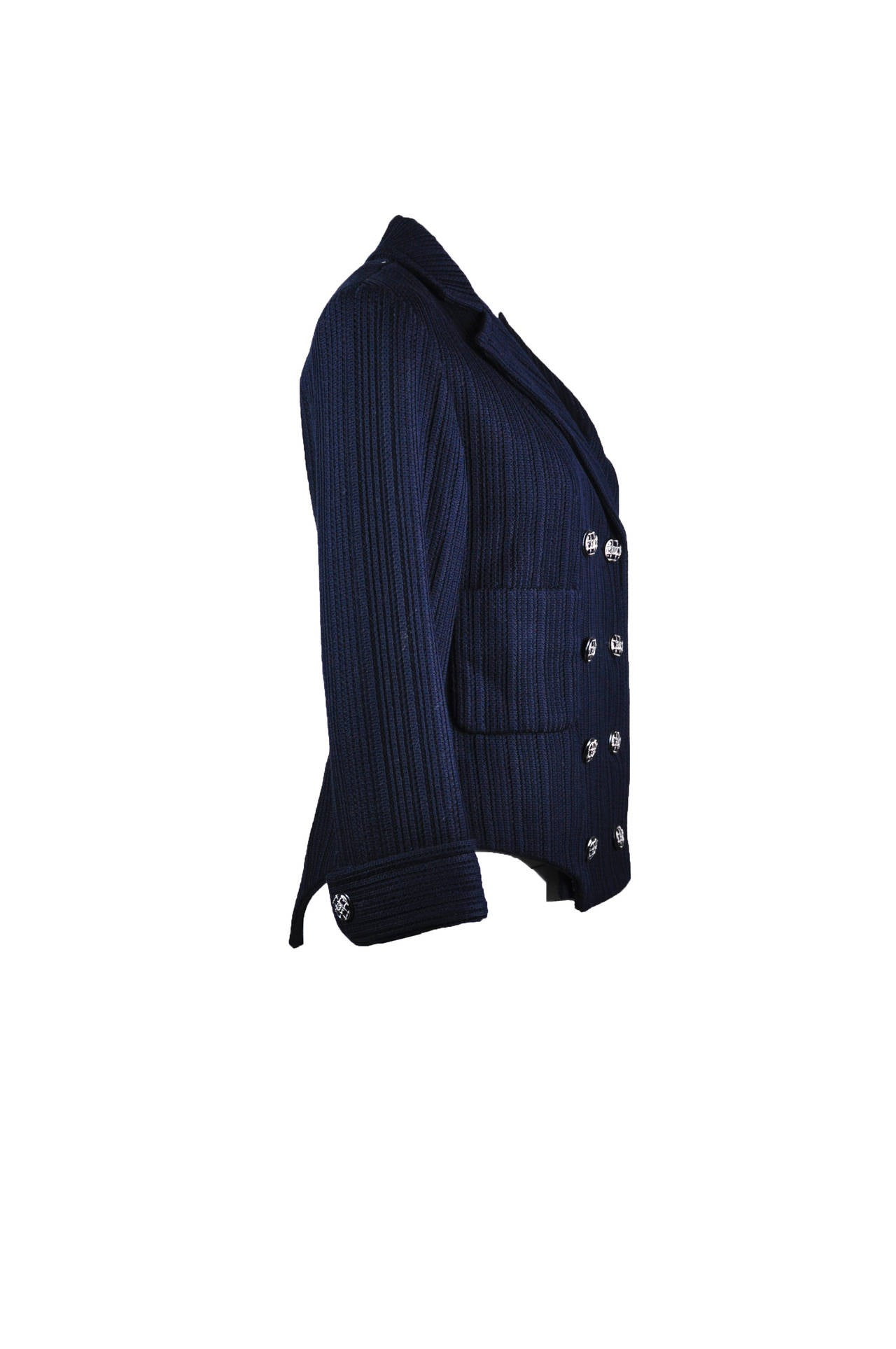Chanel 2013P Navy Textured Cotton Double Breasted Jacket NWT FR38 4