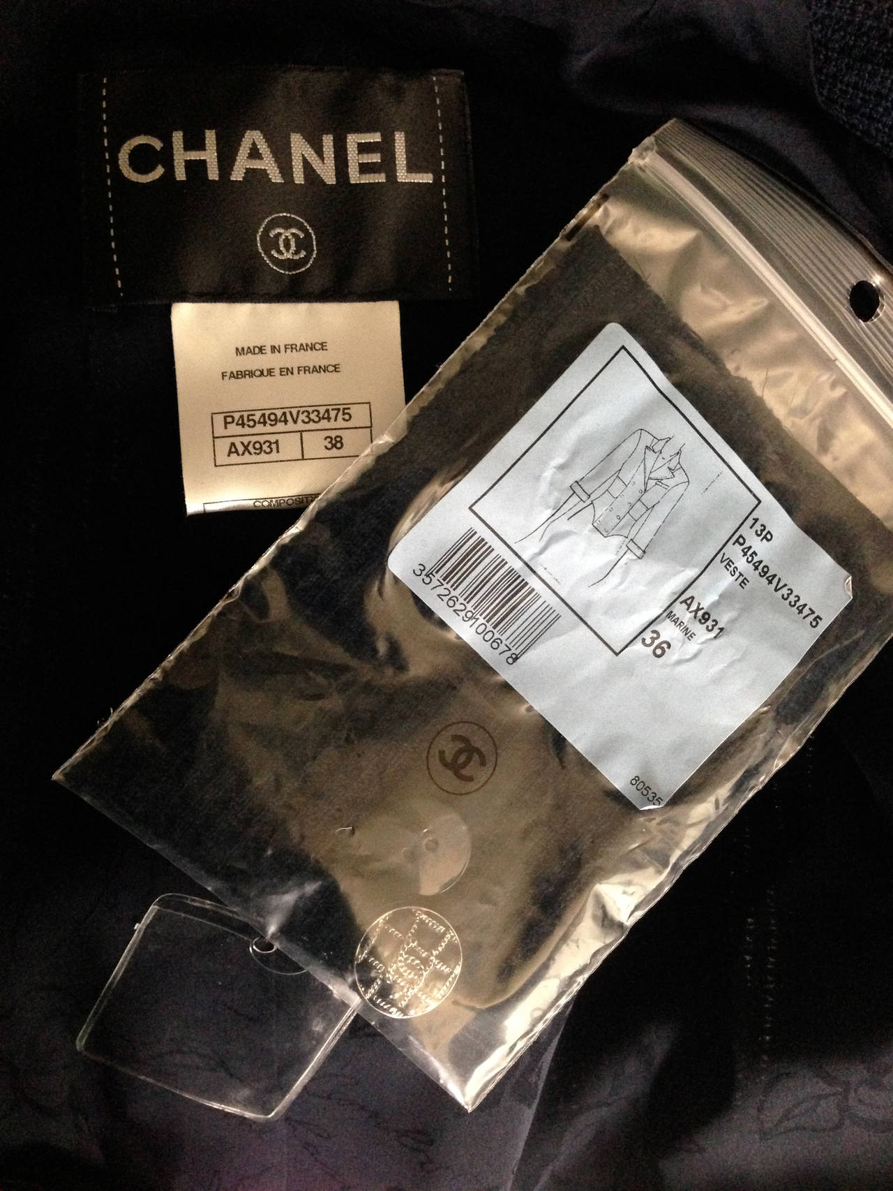 Chanel 2013P Navy Textured Cotton Double Breasted Jacket NWT FR38 5