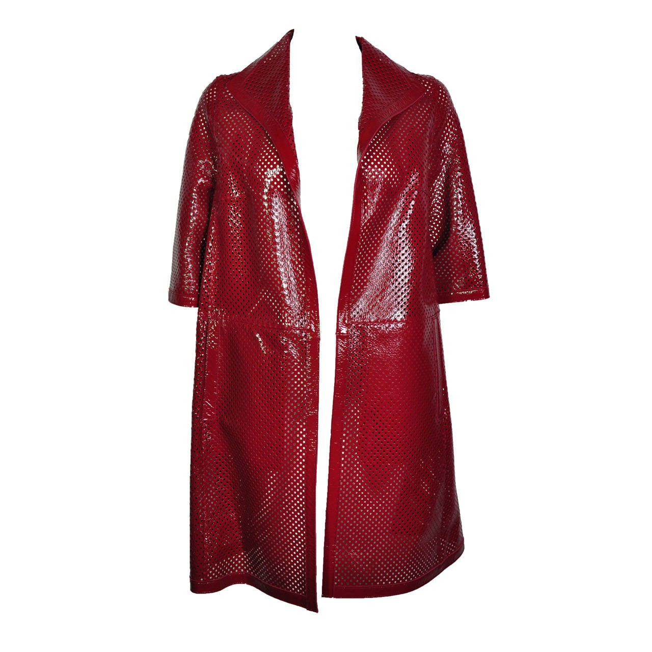 Marni Chili Red Perforated Patent Leather Dust Coat For Sale