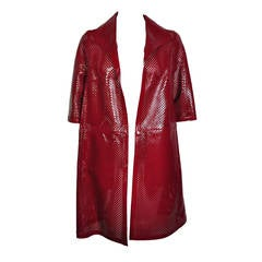 Marni Chili Red Perforated Patent Leather Dust Coat