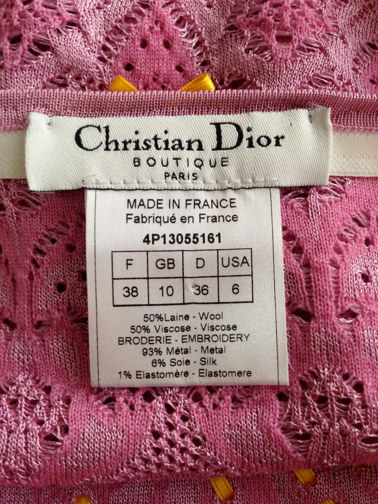 Christian Dior Hot Pink Embroidered and Embellished Jacquard Tube Top 4