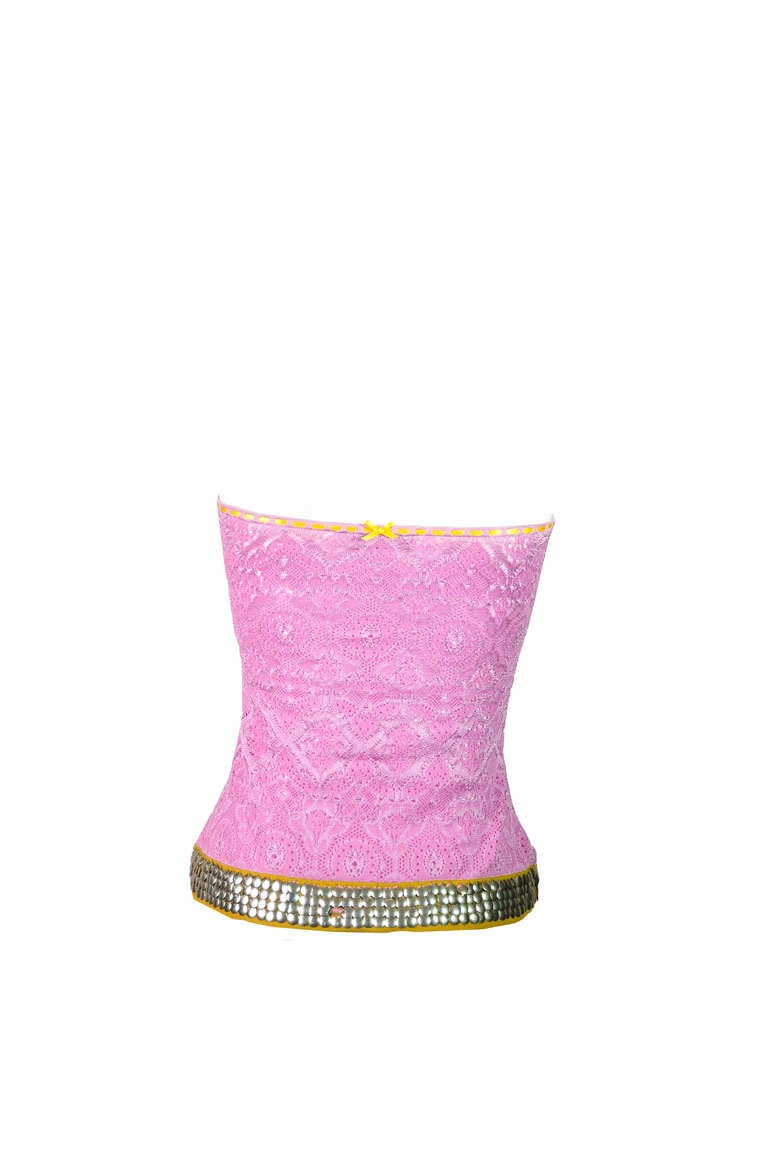 Christian Dior Hot Pink Embroidered and Embellished Jacquard Tube Top 3