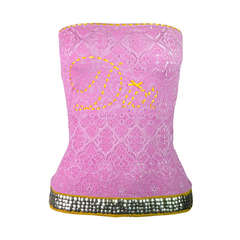 Christian Dior Hot Pink Embroidered and Embellished Jacquard Tube Top