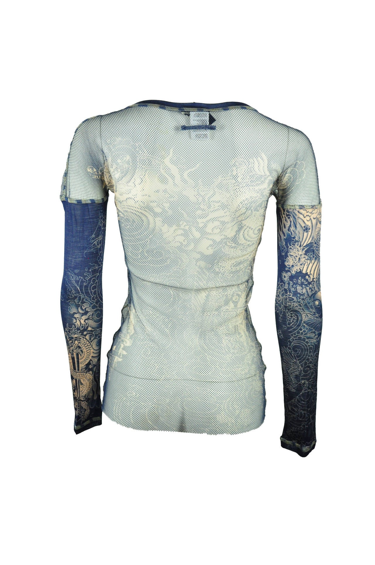 Jean Paul Gaultier Tattoo Print Mesh Top 4