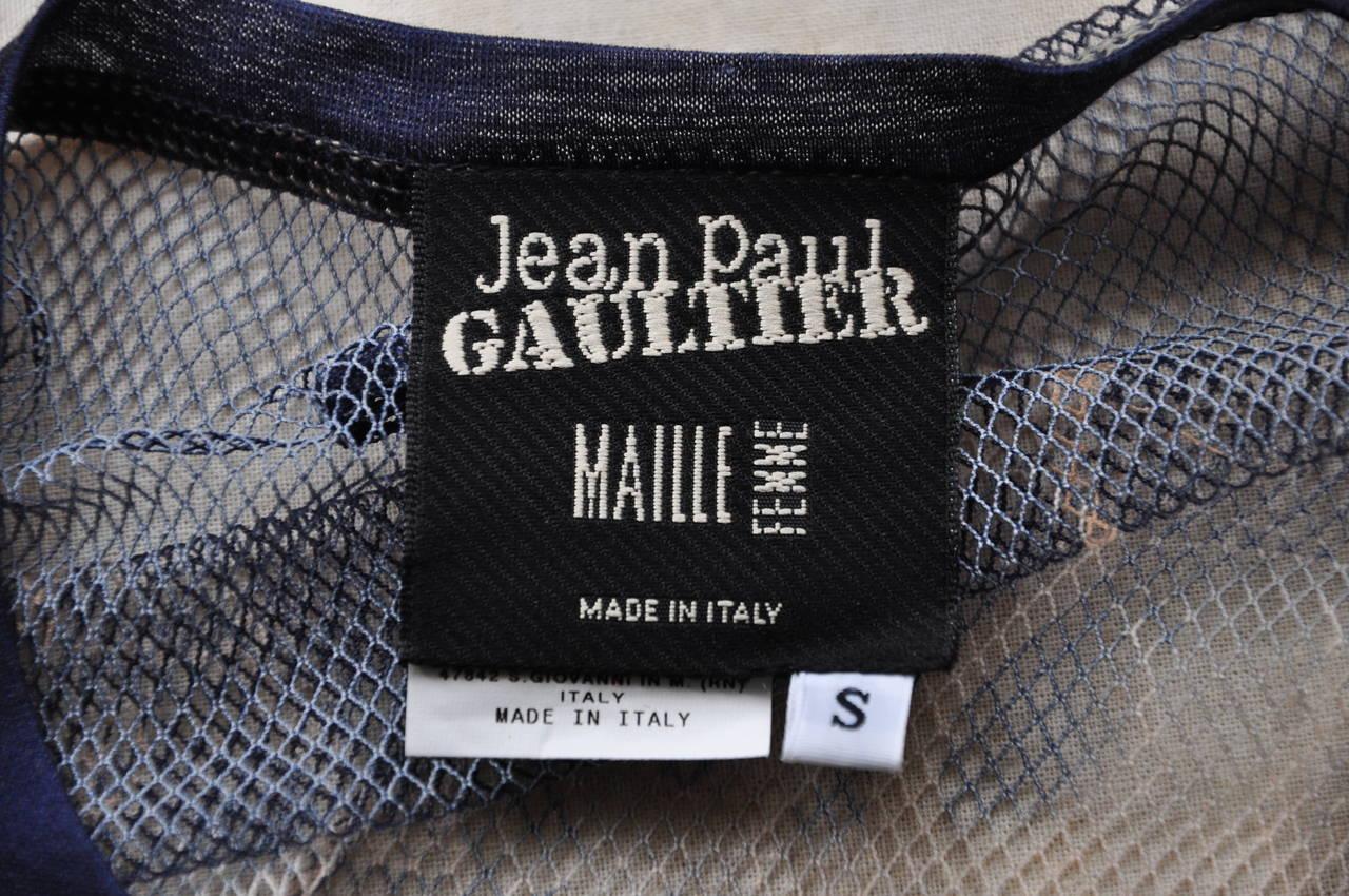 Jean Paul Gaultier Tattoo Print Mesh Top For Sale 1