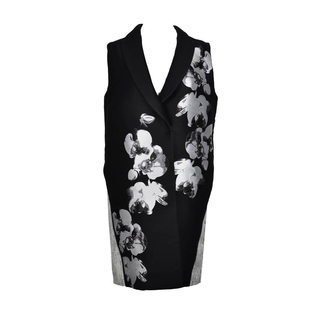 Fendi 2015 S/S Collection Orchid Jacquard Tweed Long Vest New