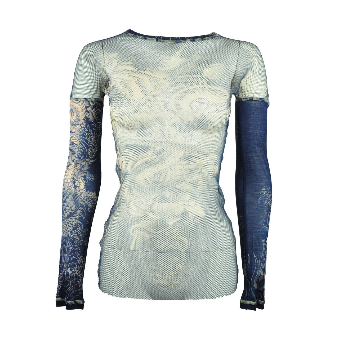 Jean Paul Gaultier Tattoo Print Mesh Top 1