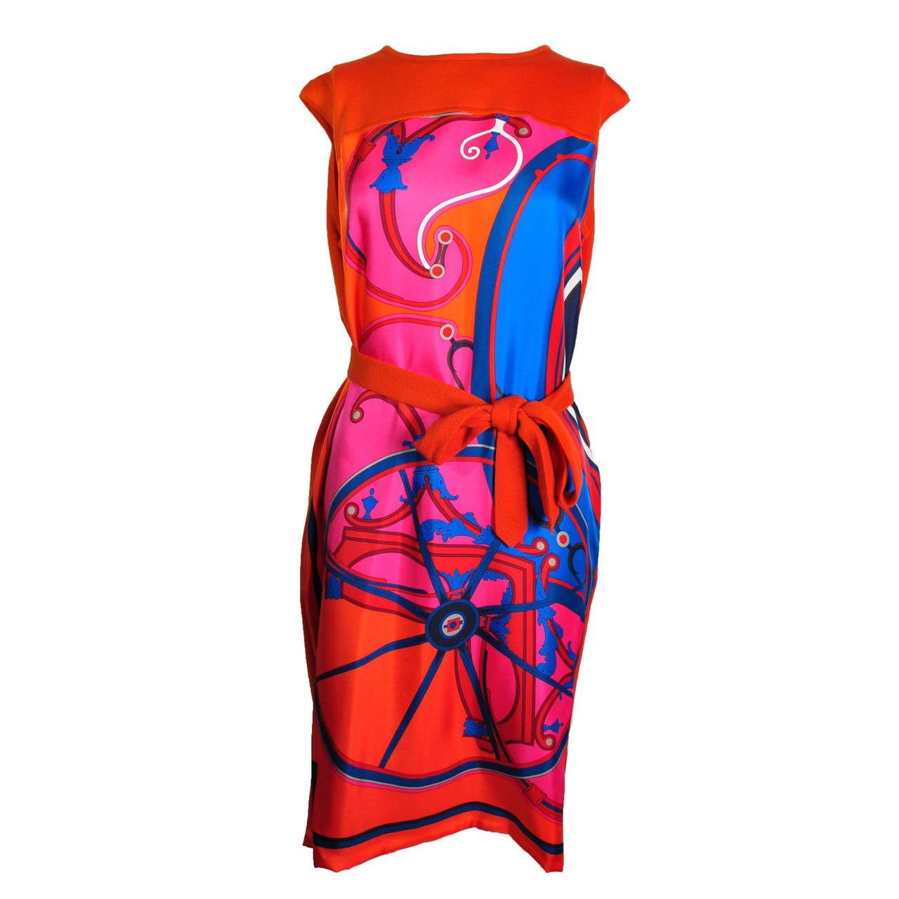 Hermes 2014 F/W Wool and Silk Scarf Print Knitted Dress New FR38 For Sale