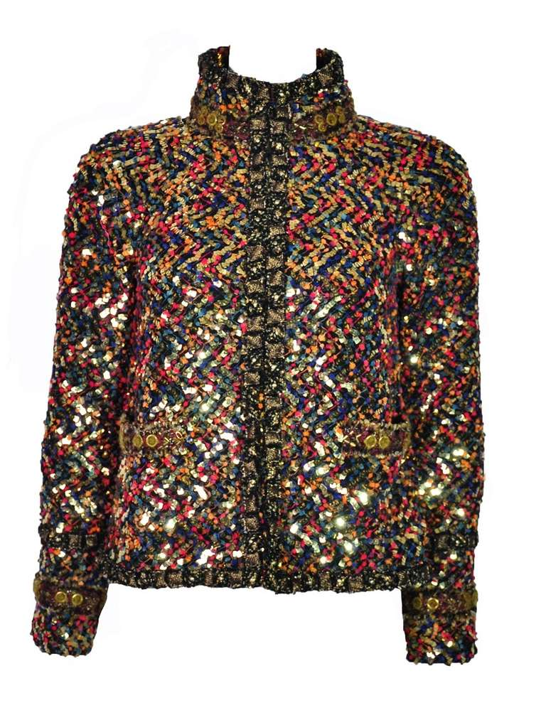 Chanel Paris-Bombay Multi-color sequined Tweed Jacket FR36 For Sale