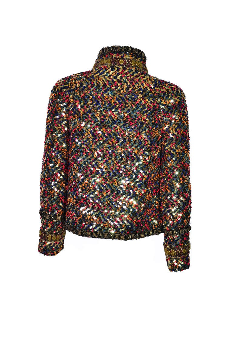 Women's Chanel Paris-Bombay Multi-color sequined Tweed Jacket FR36 For Sale