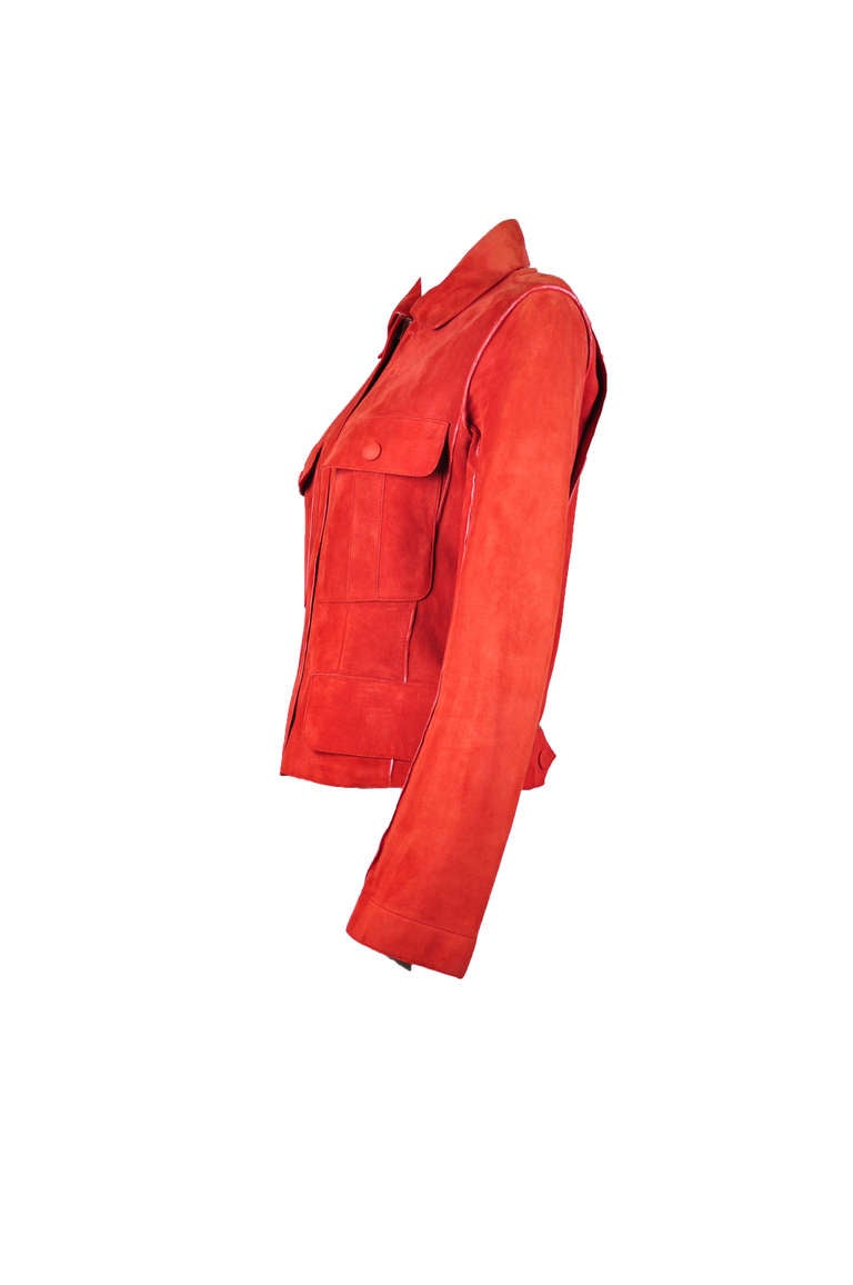 Hermes Burnt Orange Suede Leather Jacket At 1stdibs