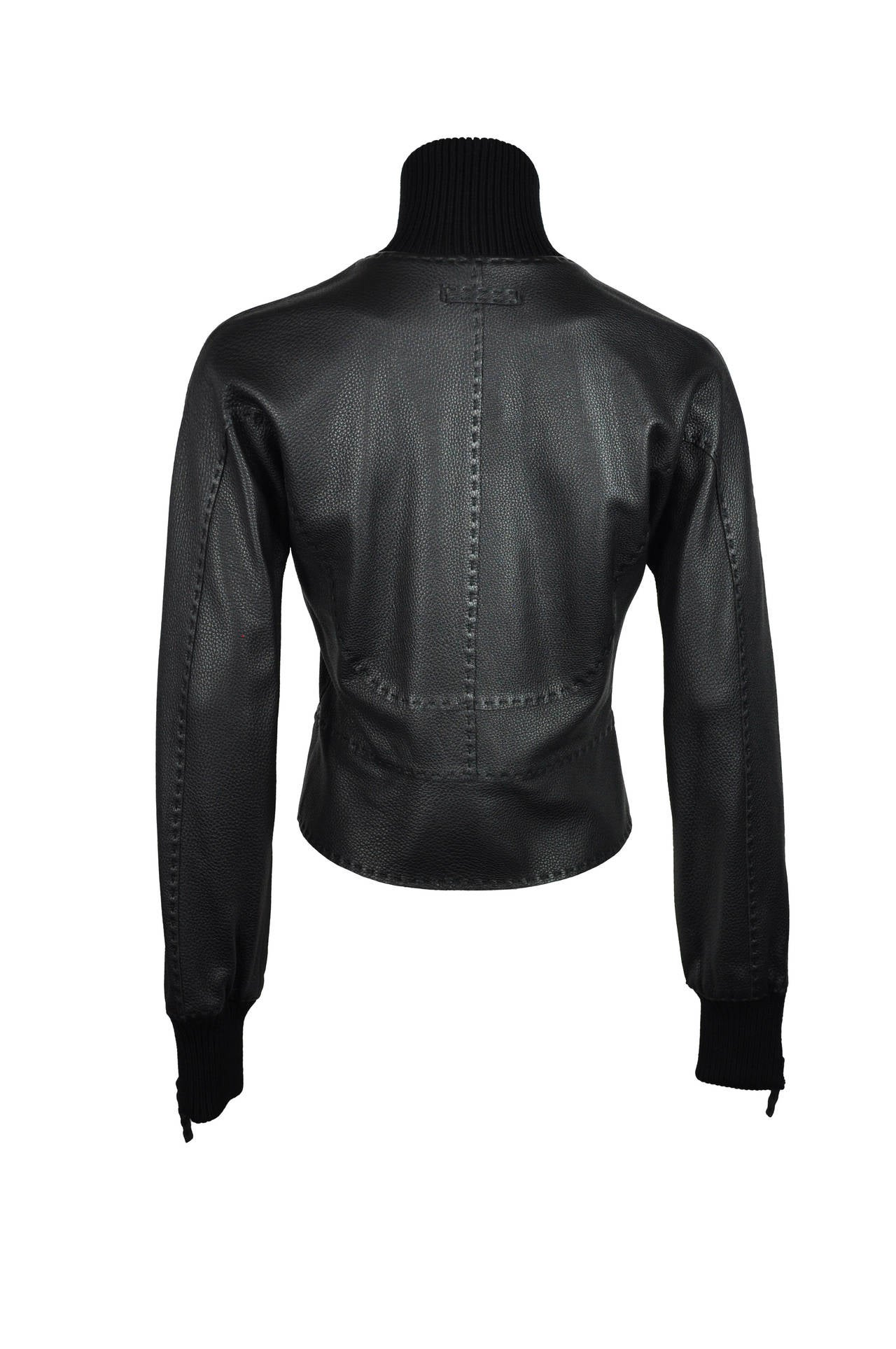 Jean Paul Gaultier Black Deer Leather Bomber Jacket 3