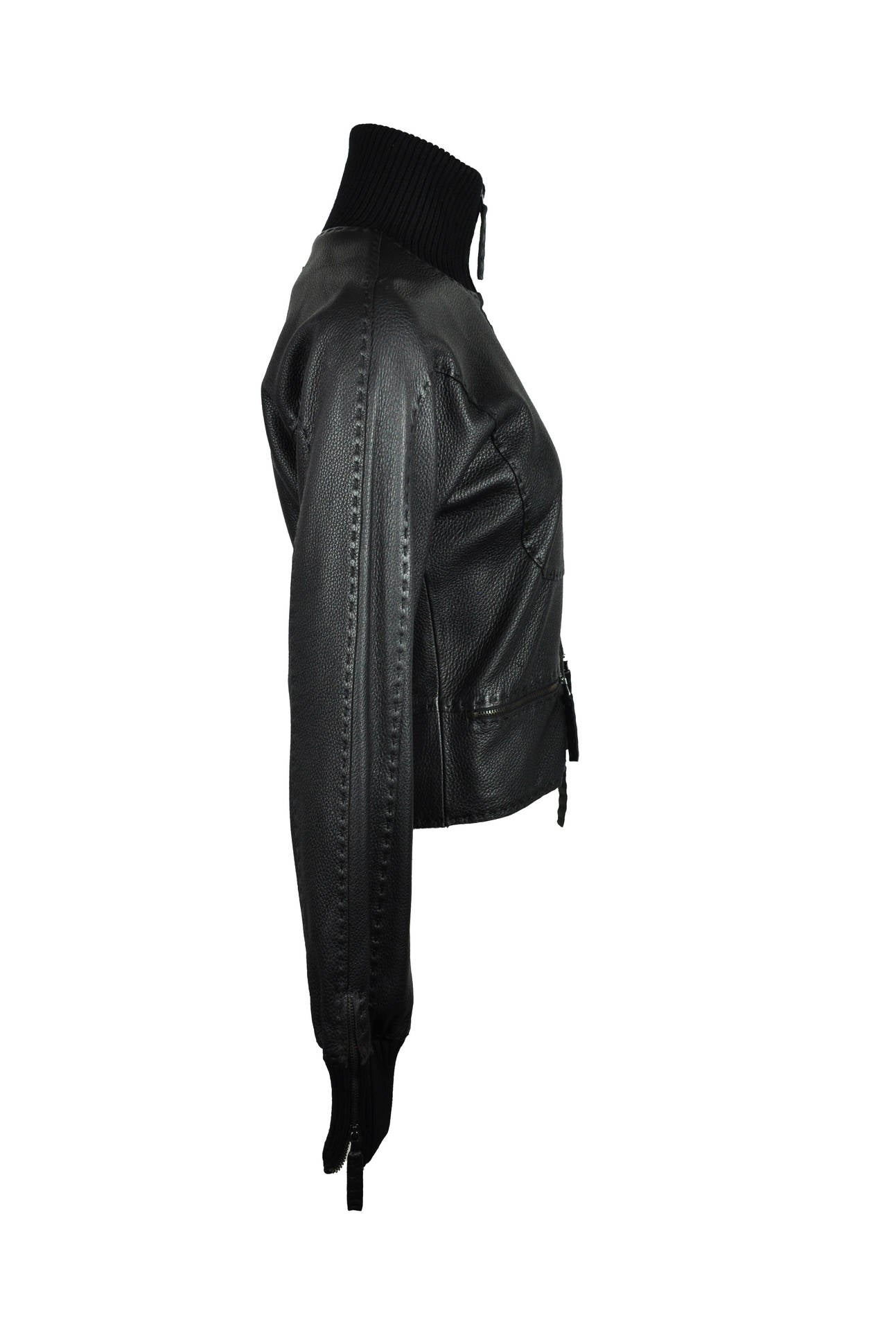 Jean Paul Gaultier Black Deer Leather Bomber Jacket 6