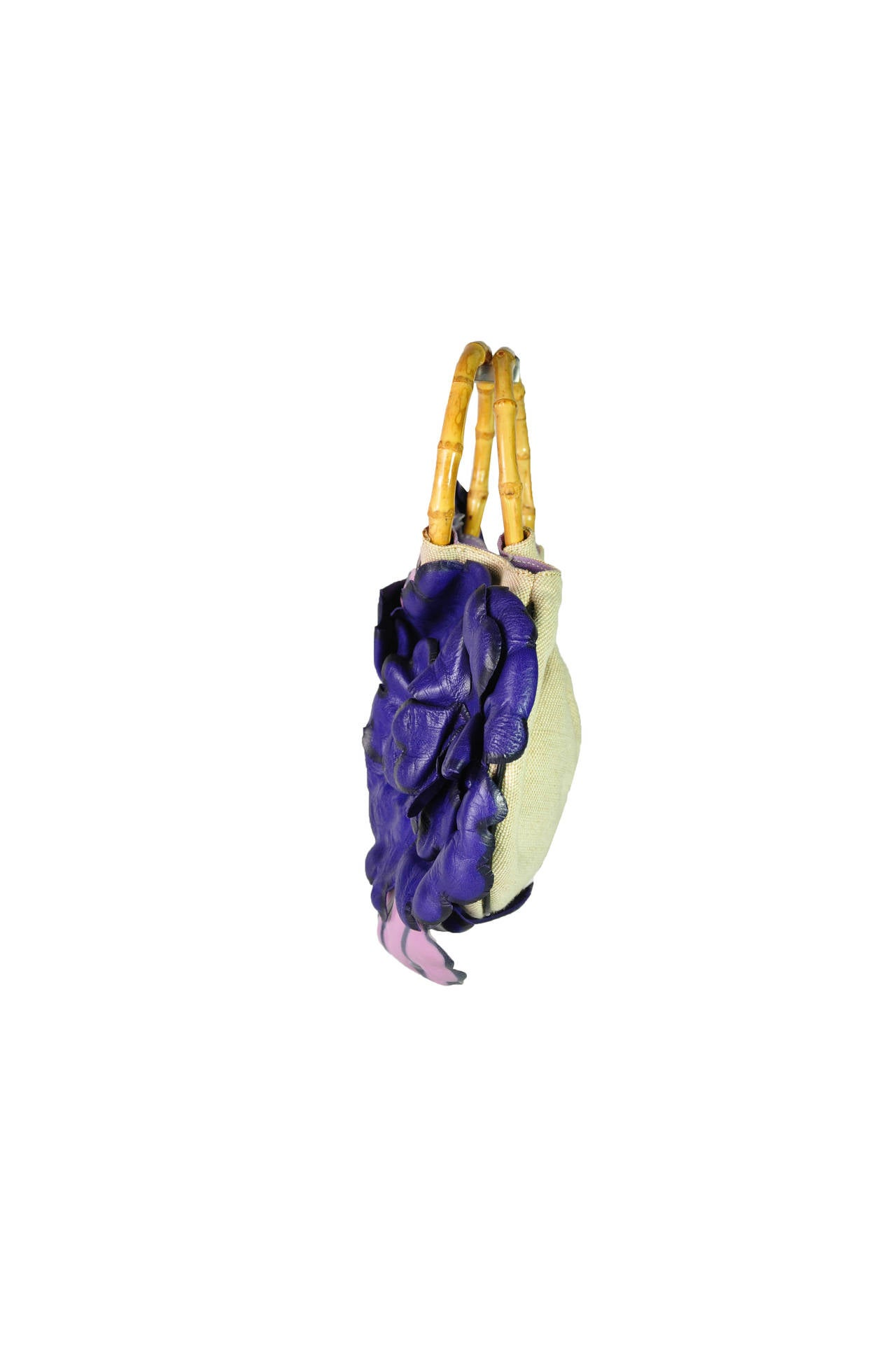 Purple Moschino Mini Canvas Bag with Flower Appliques For Sale