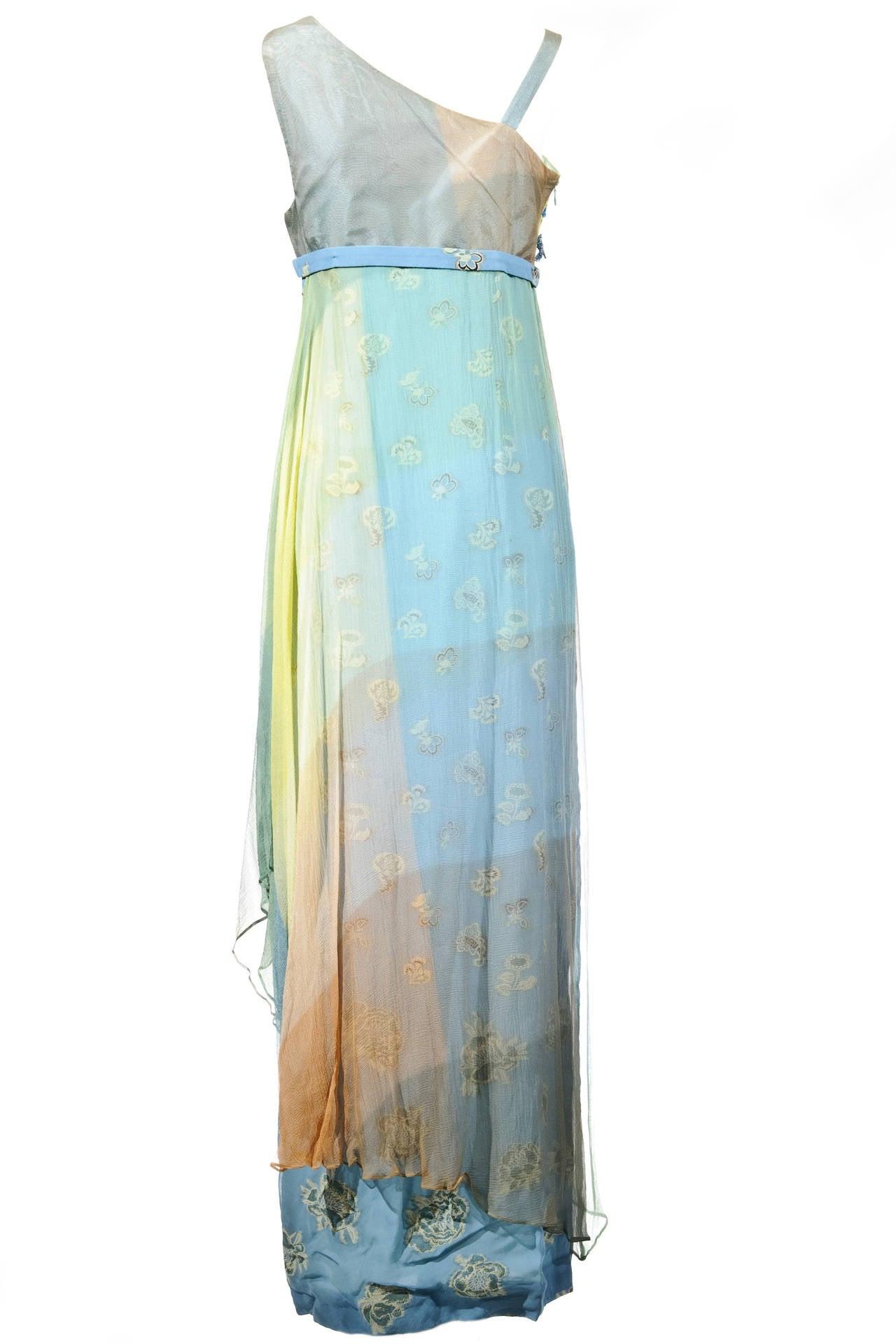 Gray Christian Lacroix 90'S Multi-color Floral Jacquard Printed Evening Dress For Sale