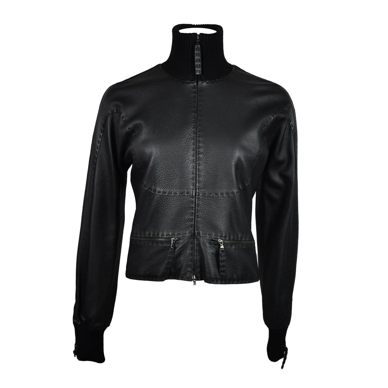 Jean Paul Gaultier Black Deer Leather Bomber Jacket 1