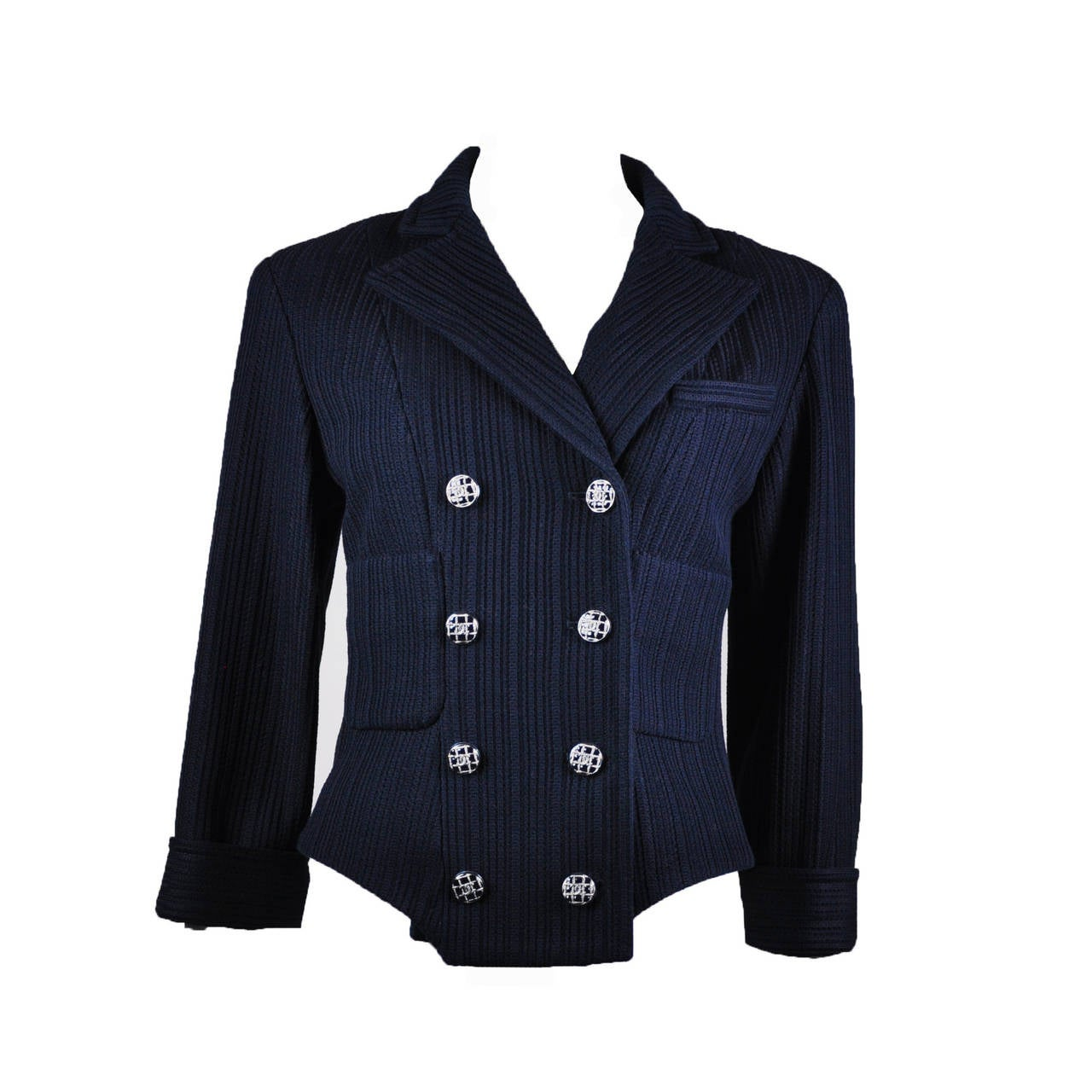 Chanel 2013P Navy Textured Cotton Double Breasted Jacket NWT FR38 1