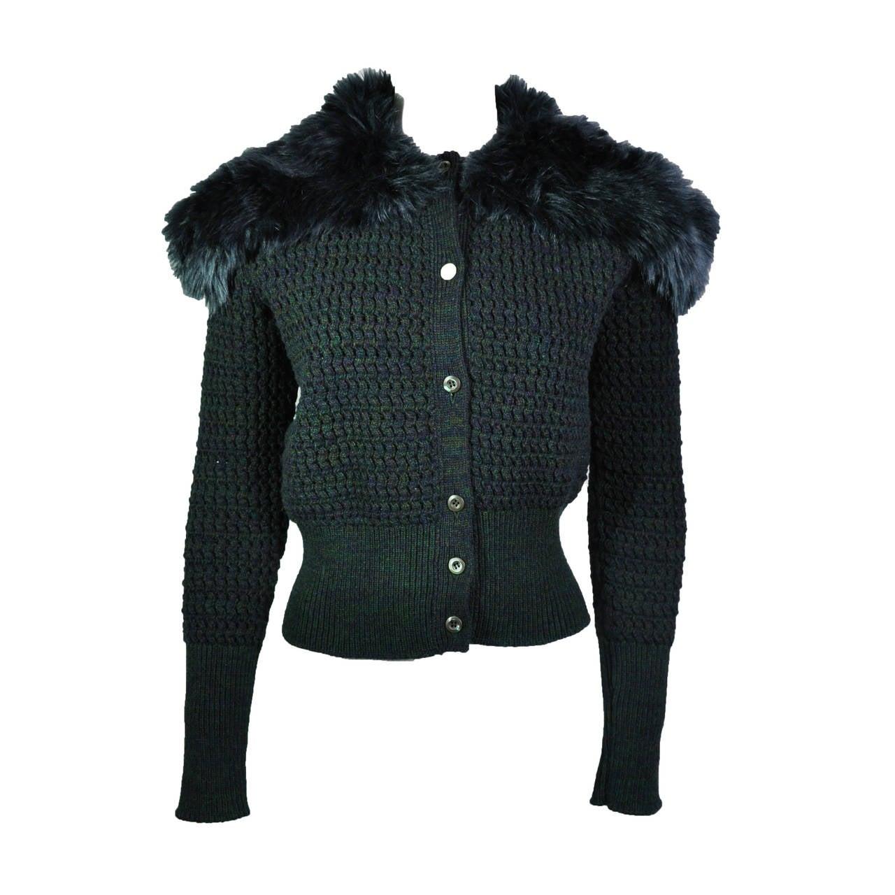 Prada Dark Green Faux Fur Collar Wool Cashmere Cardigan at 1stdibs