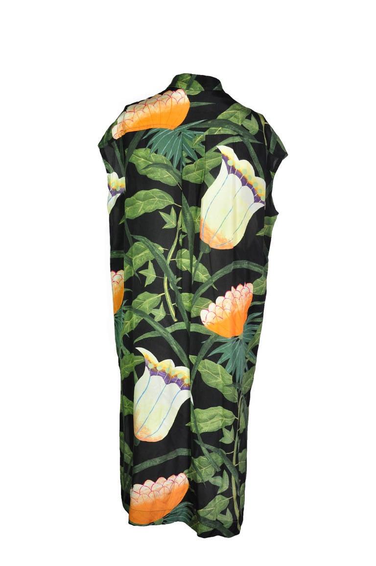 Hermes Botanical Print Sleeveless Over-sized Silk Dress 3