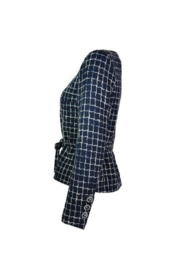 Chanel 2014 S/S Navy Cotton Tweed Jacket FR38 2