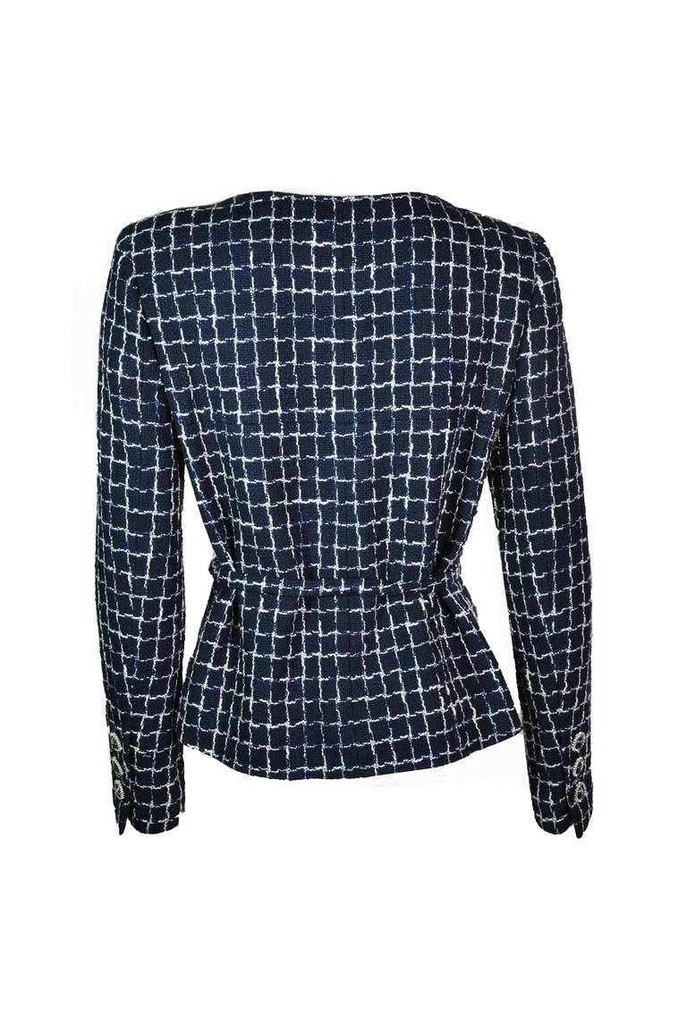 Women's Chanel 2014 S/S Navy Cotton Tweed Jacket FR38 For Sale