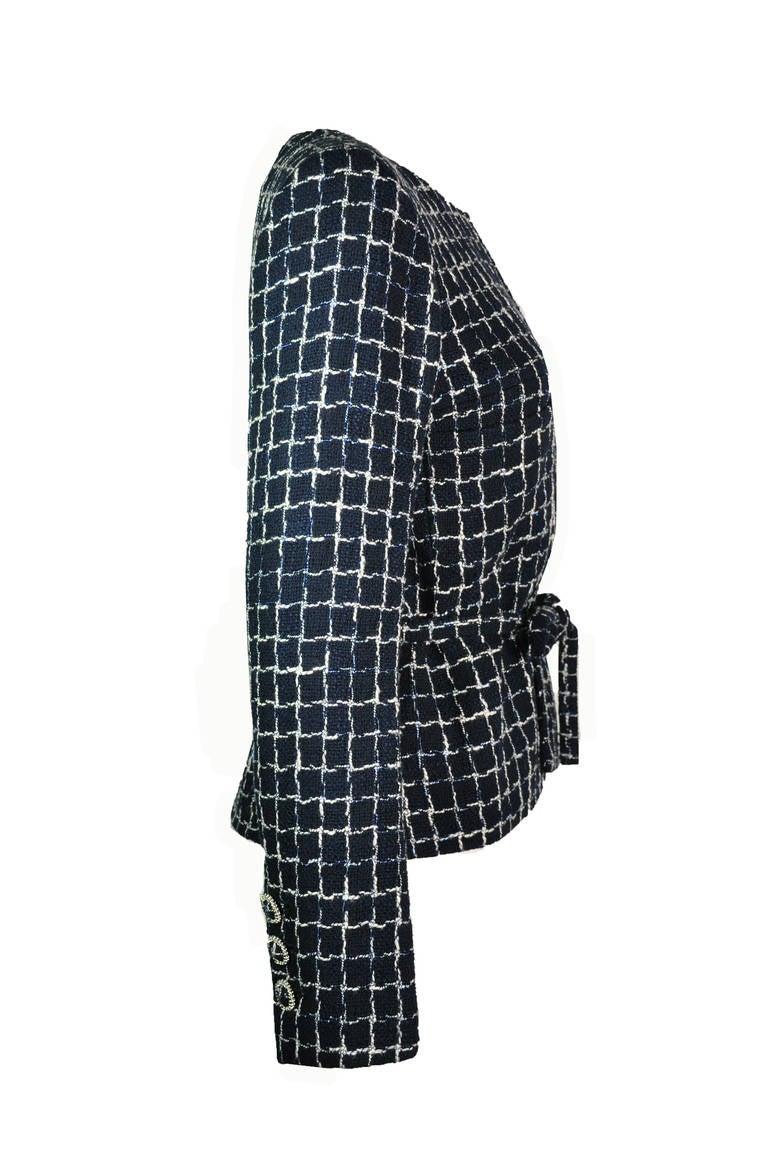 Chanel 2014 S/S Navy Cotton Tweed Jacket FR38 3