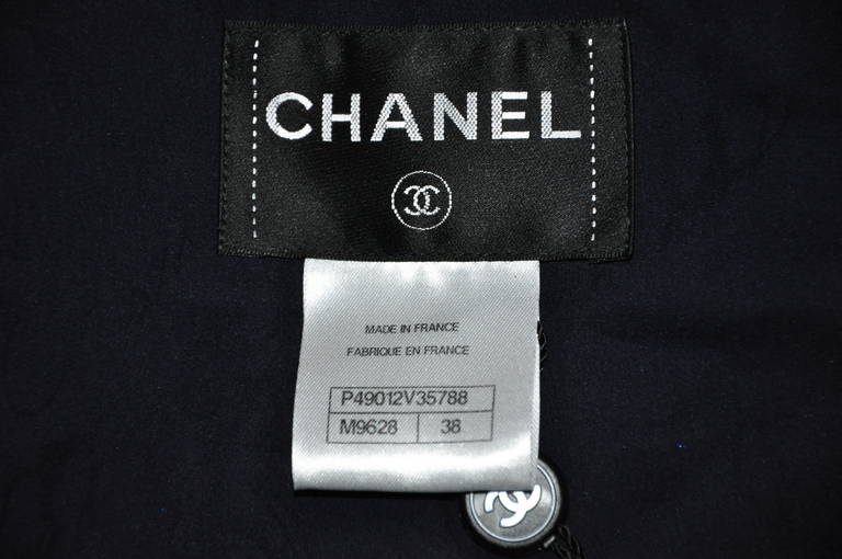 Chanel 2014 S/S Navy Cotton Tweed Jacket FR38 For Sale 2