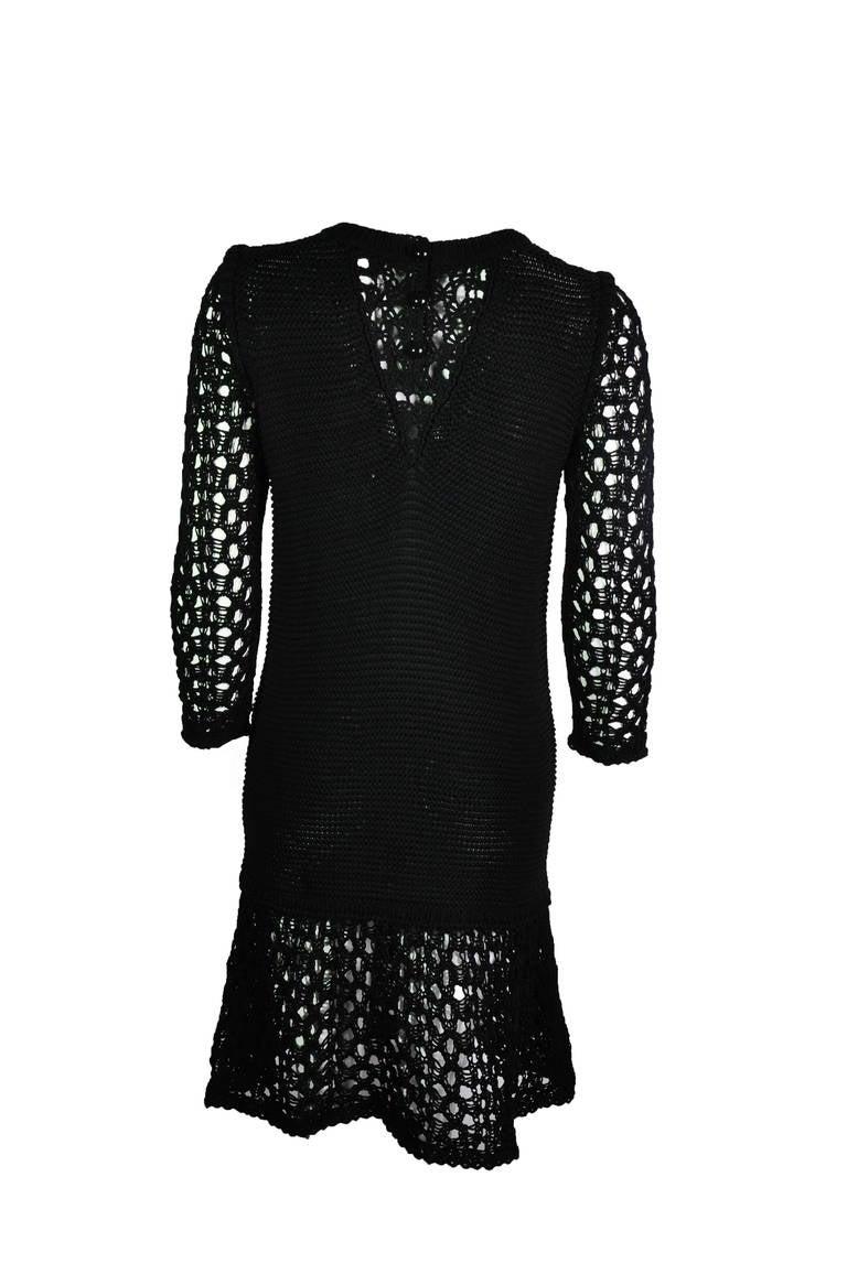 Chanel 2014 Resort Black Open-knit Cotton Dress FR36 New 3