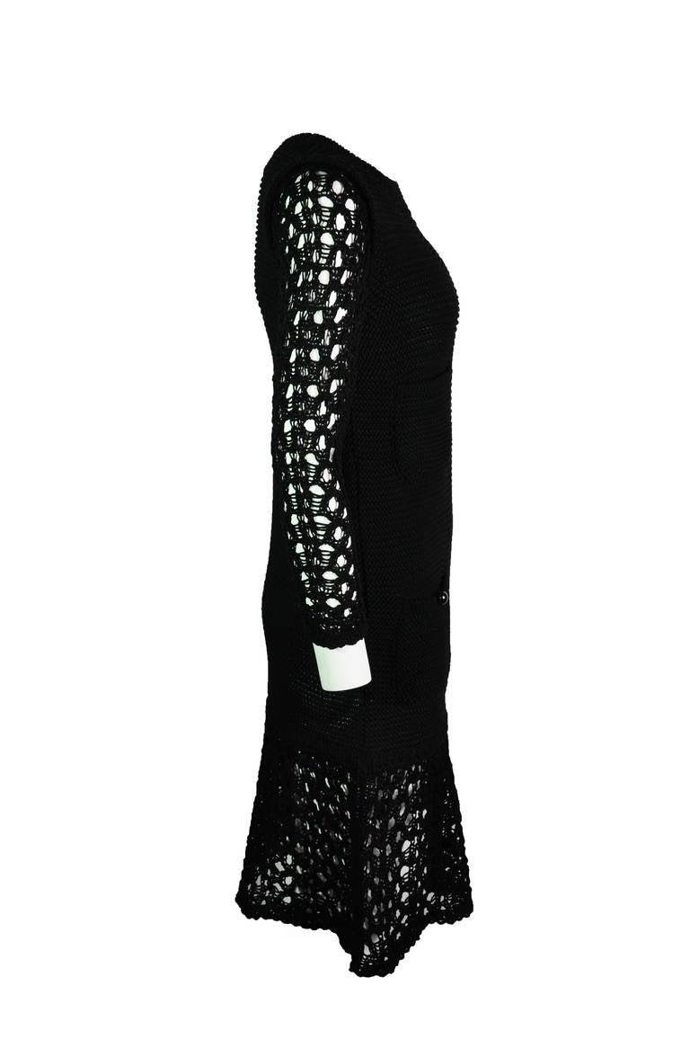 Chanel 2014 Resort Black Open-knit Cotton Dress FR36 New 4
