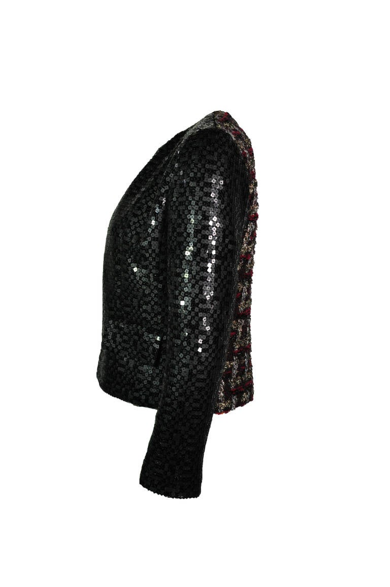 Chanel 02A Two Tone Sequined Tweed Jacket 2