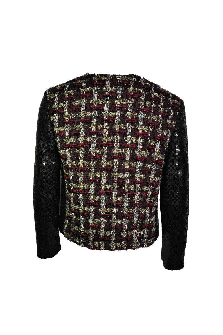 Chanel 02A Two Tone Sequined Tweed Jacket 3