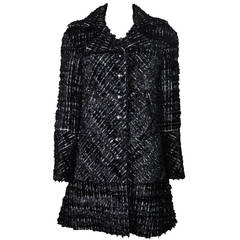 Chanel 2013 F/W Runway Metallic Black & White Fringed Tweed Jacket New FR38
