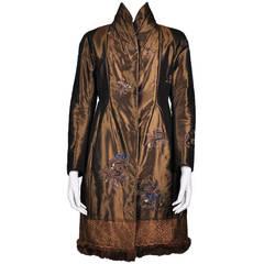 Shiatzy Chen Gold & Brown Silk Cheongsam Styled Embroidery Coat