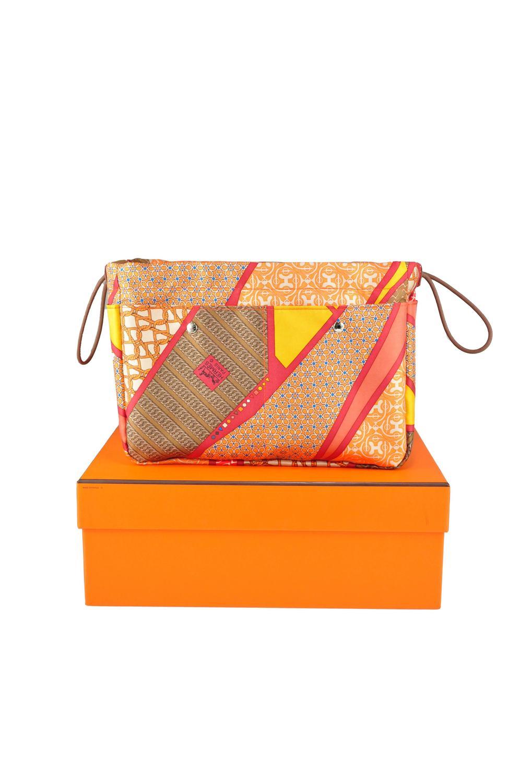 affordable replica handbags - Hermes 2015 New Fourbi 25cm Flamingo Orange Silk Bag Organizer ...
