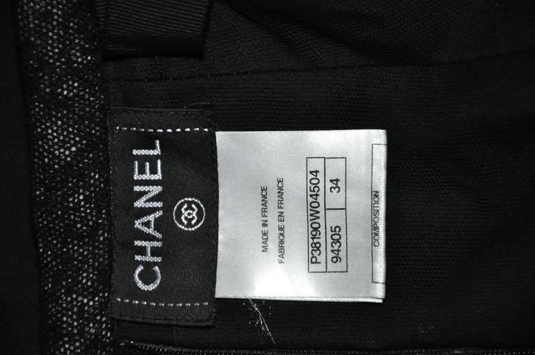 Chanel 2010 Black Tulle and Lace Asymmetric skirt FR34 For Sale 1