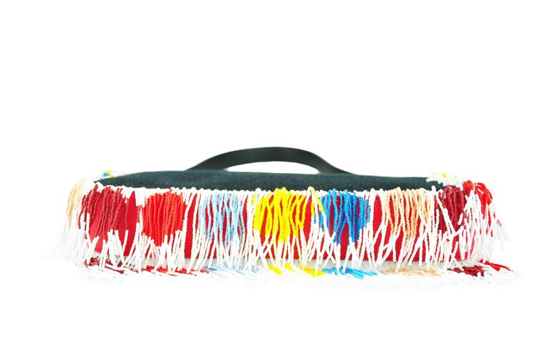 Yellow Fendi Multi-color Beaded & Fringe Bird Denim and Leather Baguette Bag New For Sale