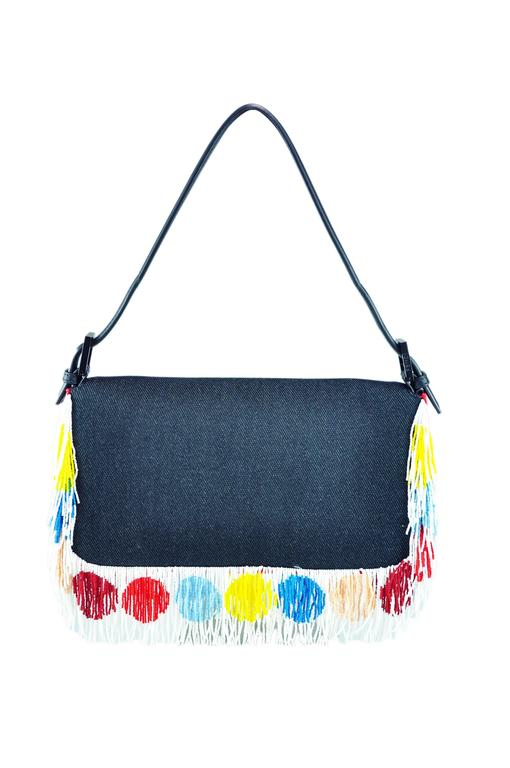 Fendi Multi-color Beaded & Fringe Bird Denim and Leather Baguette Bag New In New never worn Condition For Sale In Hong Kong, HK