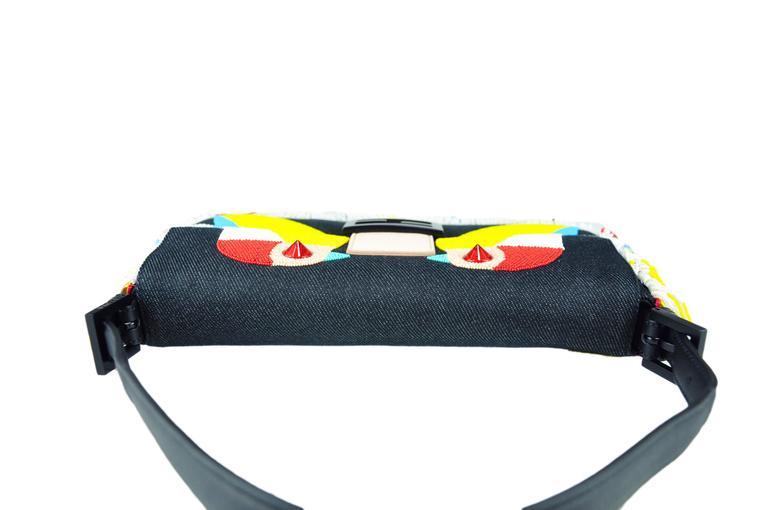 Fendi Multi-color Beaded & Fringe Bird Denim and Leather Baguette Bag New 6