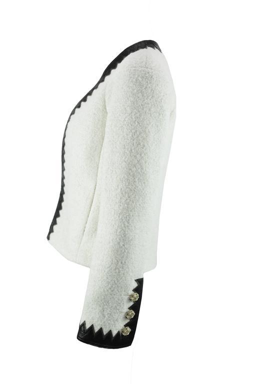 Chanel 2015 F/W Black Leather Trim & White Wool Tweed Jacket FR38 New 2