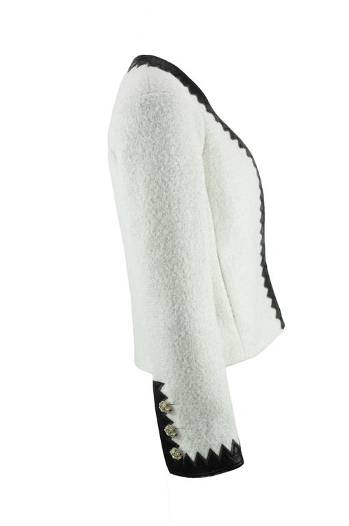 Chanel 2015 F/W Black Leather Trim & White Wool Tweed Jacket FR38 New 3