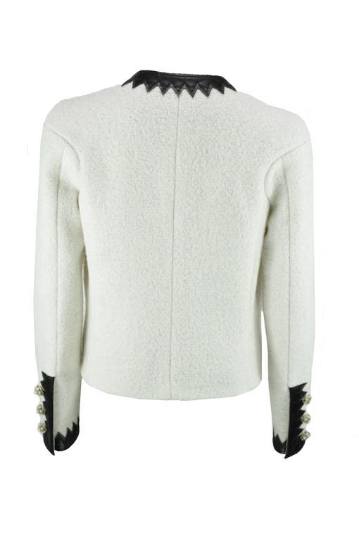 Chanel 2015 F/W Black Leather Trim & White Wool Tweed Jacket FR38 New 4