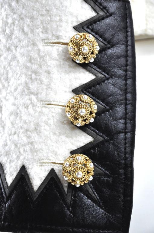 Chanel 2015 F/W Black Leather Trim & White Wool Tweed Jacket FR38 New 6