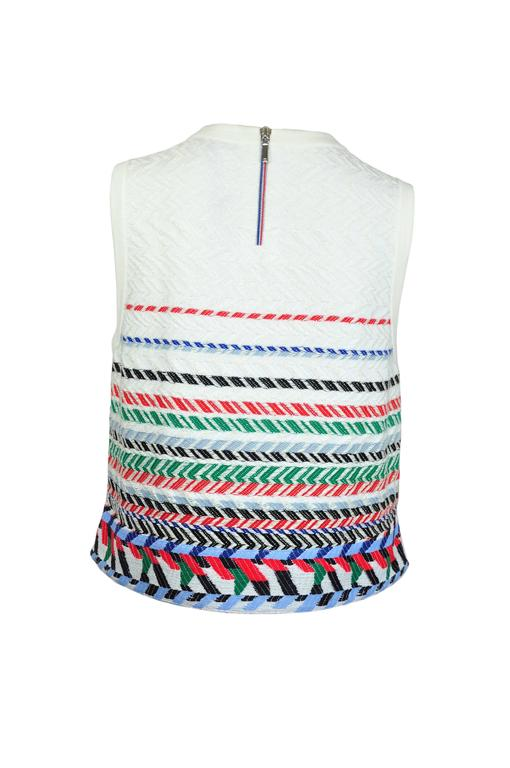 Chanel 2016 Airline Collection Sleeveless White & Multi-color Top FR40 New 2