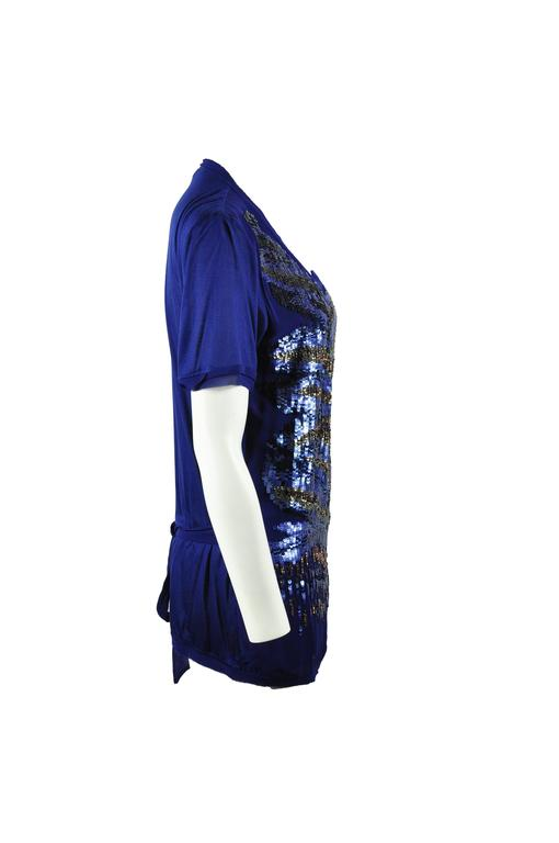 Roberto Sapphire Blue Embellished Top In Excellent Condition For Sale In Hong Kong, HK