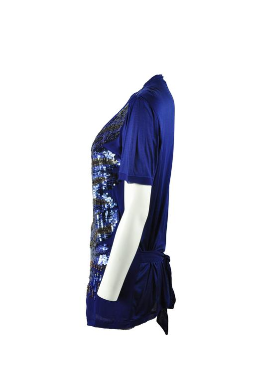 Women's Roberto Sapphire Blue Embellished Top For Sale