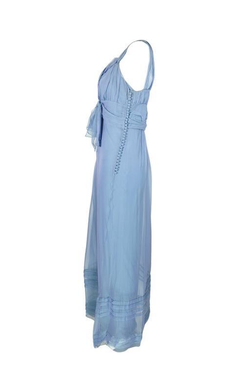 Christian Dior by John Galliano Silk Chiffon Ciel Bleu Maxi Dress  2
