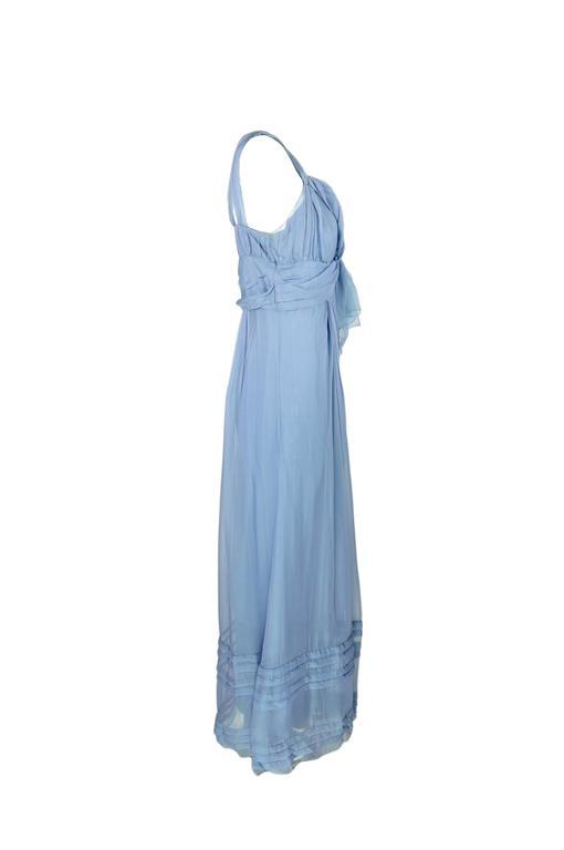 Christian Dior by John Galliano Silk Chiffon Ciel Bleu Maxi Dress  3