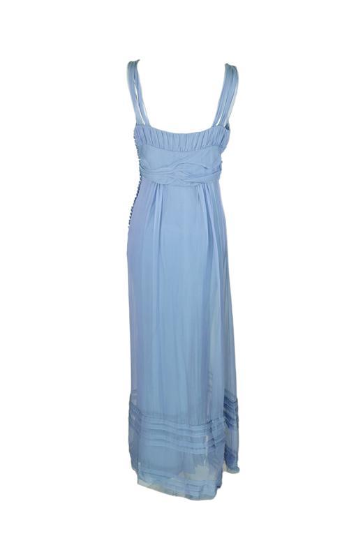 Christian Dior by John Galliano Silk Chiffon Ciel Bleu Maxi Dress  4