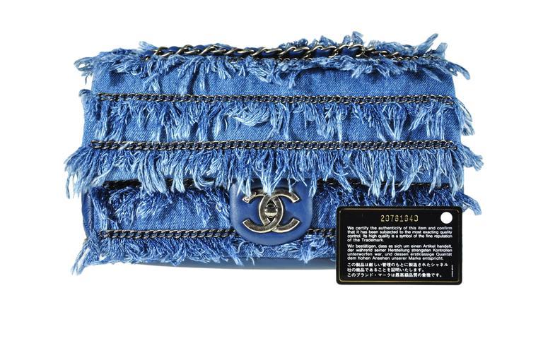 Chanel 2015 Dubai Cruise Denim Fringe with Medallion Bag 8