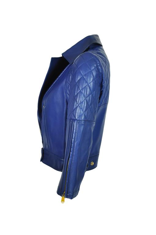 Yves Saint Laurent Blue Quilted Leather Biker Jacket FR36 New 2